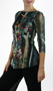TAMMY Abstract Floral Diagonal Splice 3/4 Length Sheer Sleeves Tunic Top