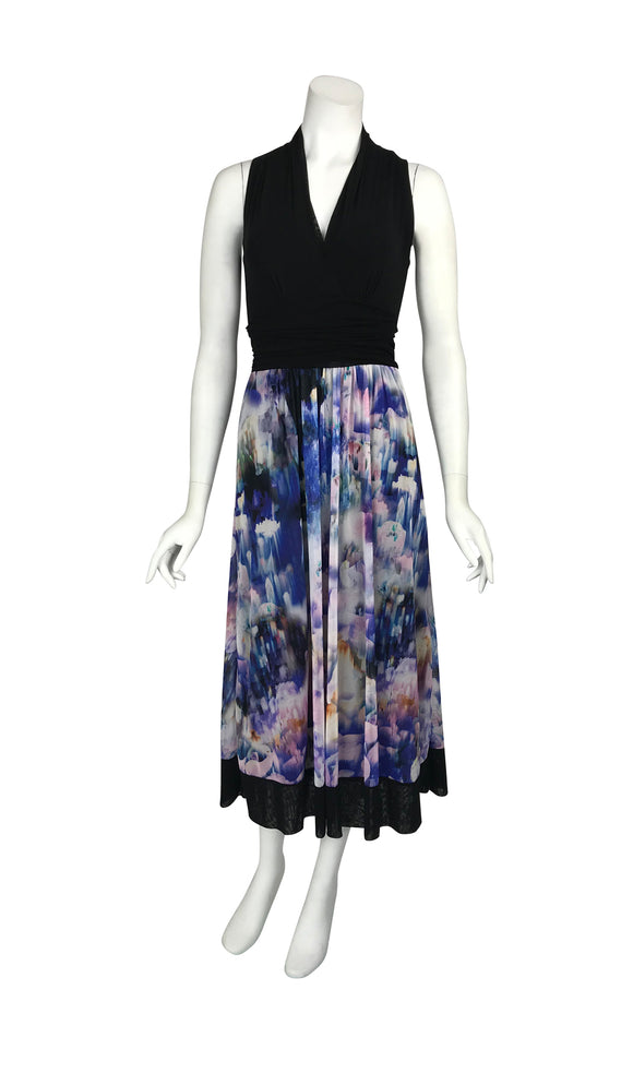 THEA Mid-Length Slevveless Print Cummerbund Dress