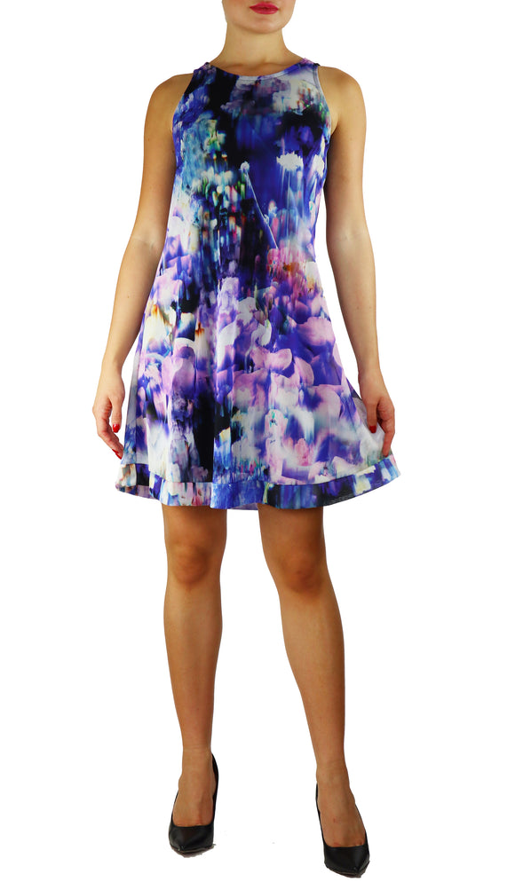 THEA Sleeveless A-line Shift Above Knee Length Print Mesh Dress