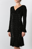 TOSCA Long Sleeves Ruffled Hem Velvet Dress Black