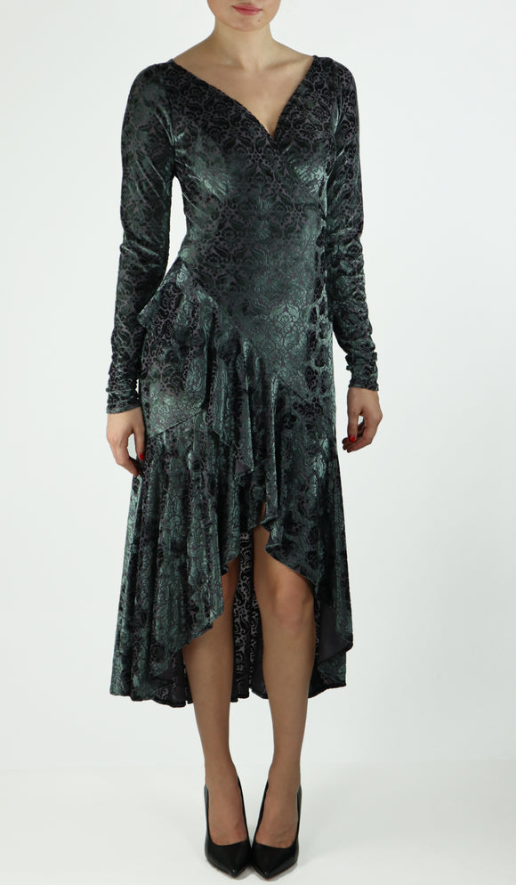 TOSCA Tango Dress in Burnout Velvet Hi Lo Hem Sage