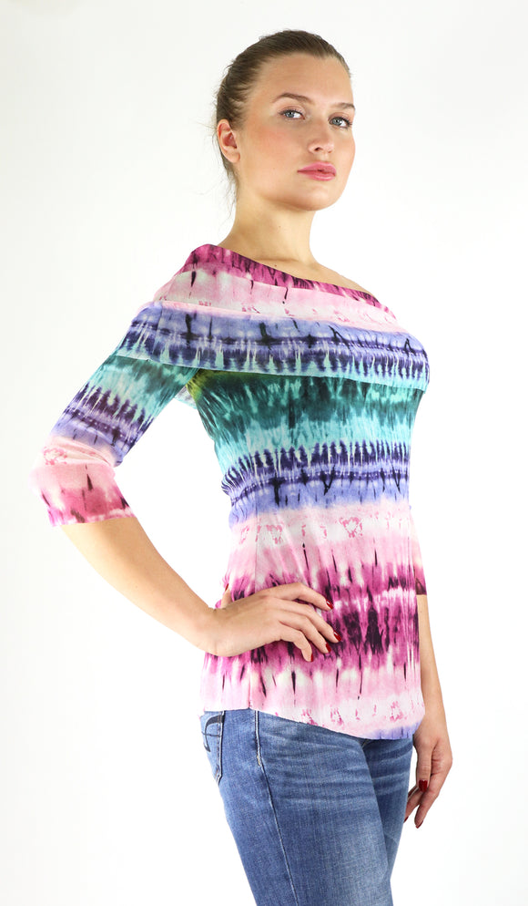 USHA Draped Off-Shoulder Neckline 3/4 Sleeve Print Top