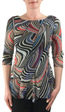 VICENZA Diagonal Paneled Print Top with Scalloped Hem