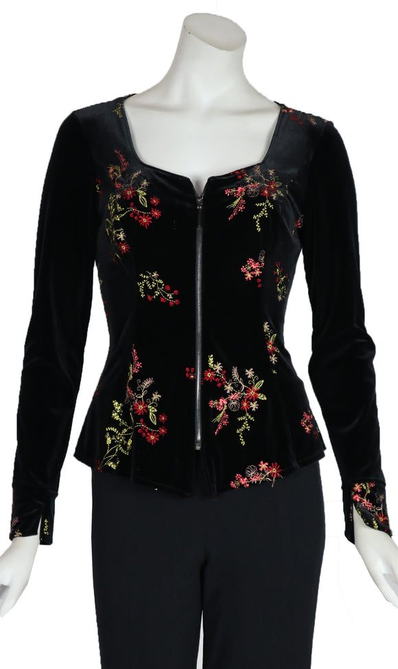 VICTORIA Long Sleeve Embroidered Velvet Zippered Jacket