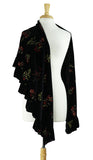 VICTORIA Ruffled Long & Wide Black Velvet Shawl With Embroidered Accents