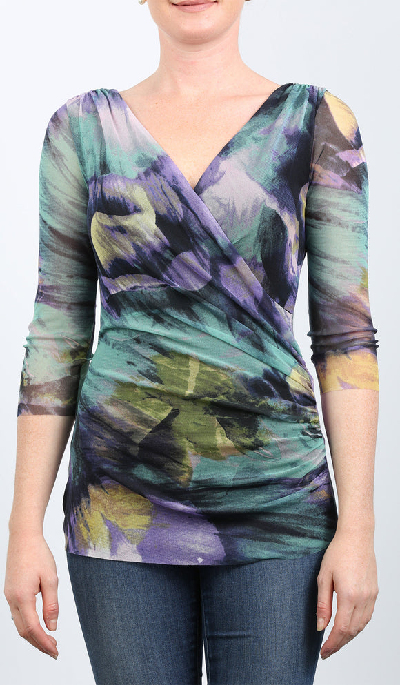 VOLGA Abstract Print Crossover Neckline Ruched Side Top