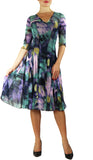 VOLGA Fit and Flare 3/4 Sleeves Paneled Abstract Print Dress