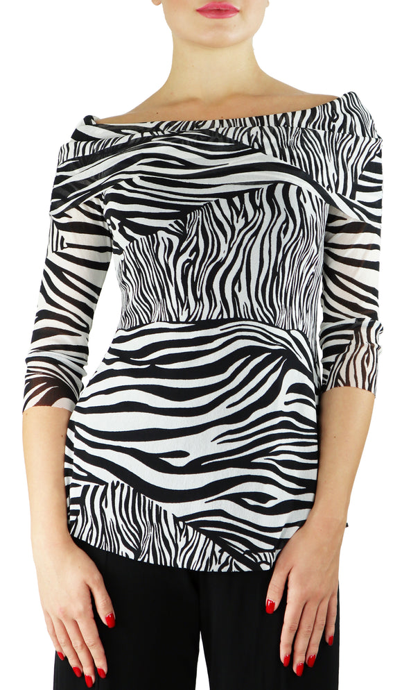 ZEBRA Draped Neckline 3/4 Sleeve Print Top