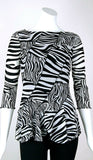 ZEBRA Diagonal Panels Scalloped Hem 3/4 Sleeves Top
