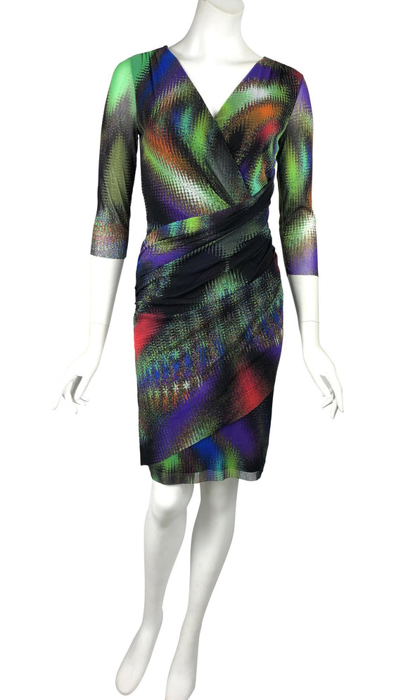 AJINA Crossover Multicolored Knee Length Ruched Dress