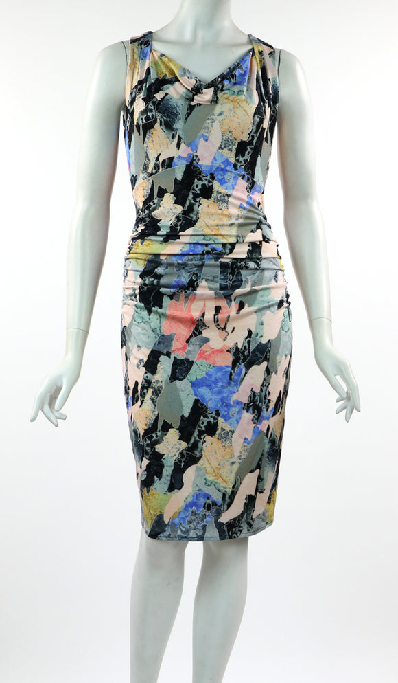 ARIELLE Cowl Neck Sleeveless Ruched Knee Length Print Dress