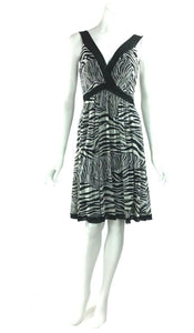 ZEBRA Sleeveless Crossover Empire Knee Length Print Mesh Dress