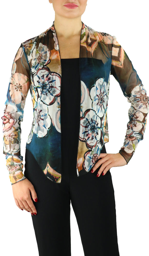 GILLY Sheer Long Sleeve Print Bolero Cover-up