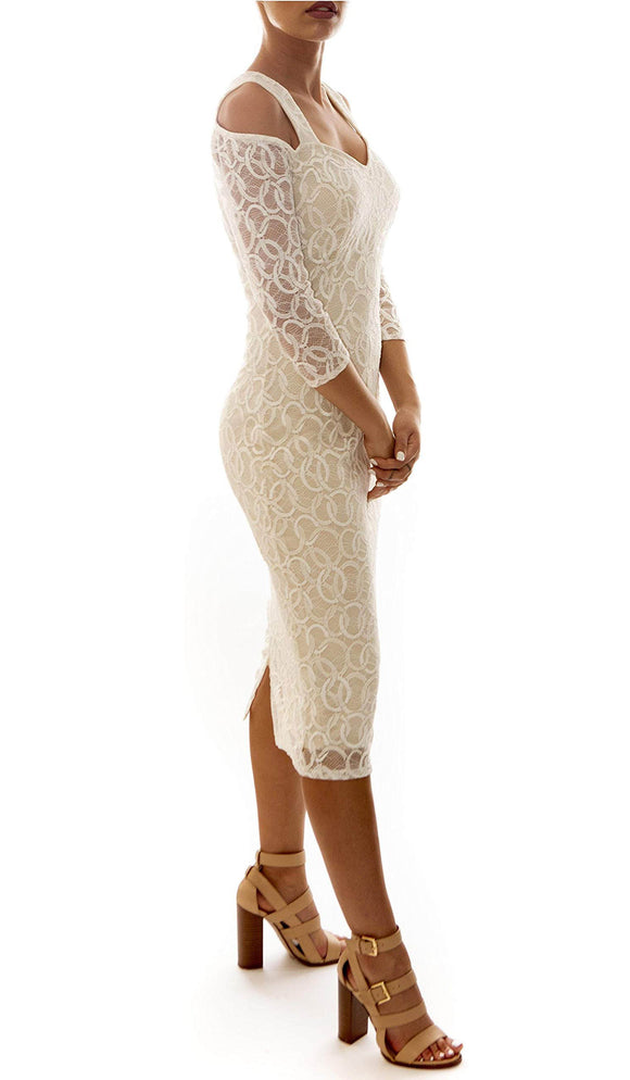 GOLDIE Fitted Lace Cold-Shoulder Dress Ivory
