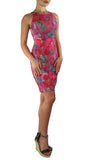 LAUREN Textured Floral Form-fitting Sleeveless Sheath Dress