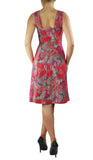 LAUREN Textured Floral Paneled A-line Dress