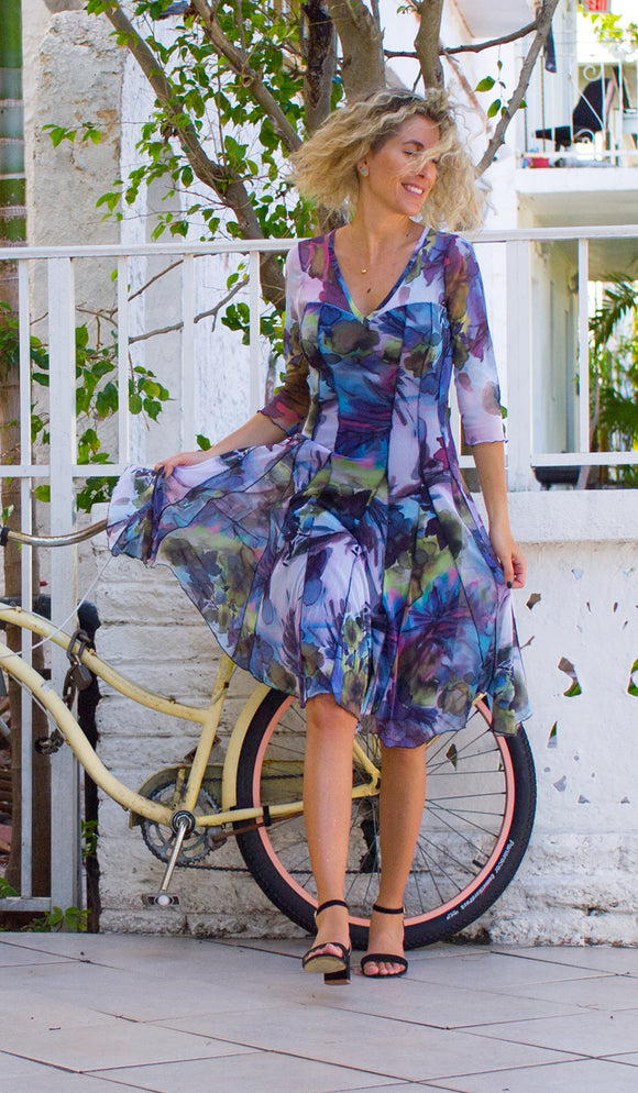 VIOLET  Fit and Flare 3/4 Sleeves Paneled Print Dress