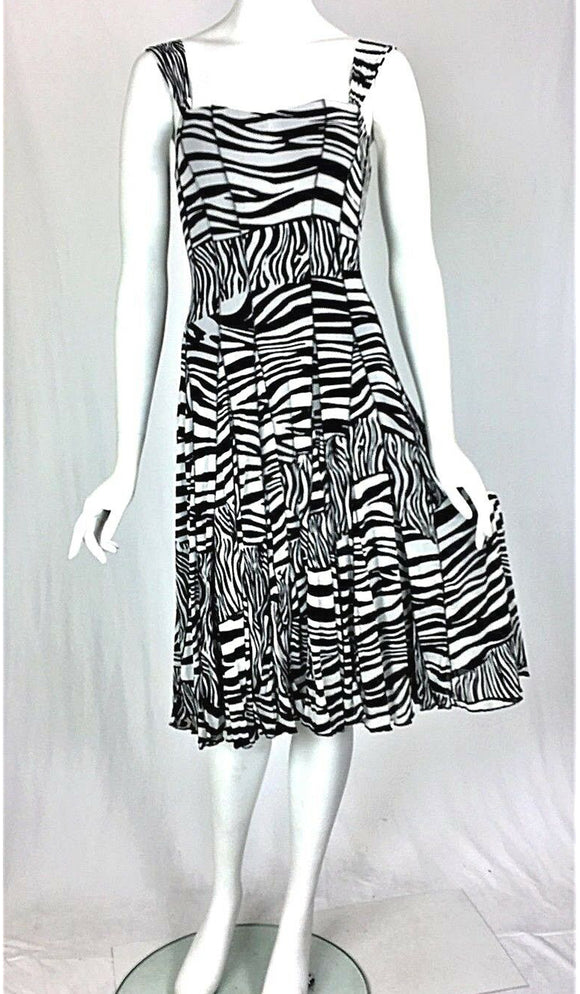 ZEBRA Sleeveless Fit N Flare Paneled Dress