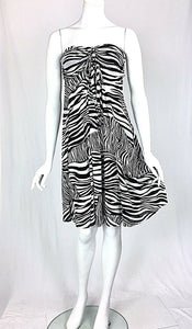 ZEBRA Knee Length Strapless Flared Empire Mesh Print Dress