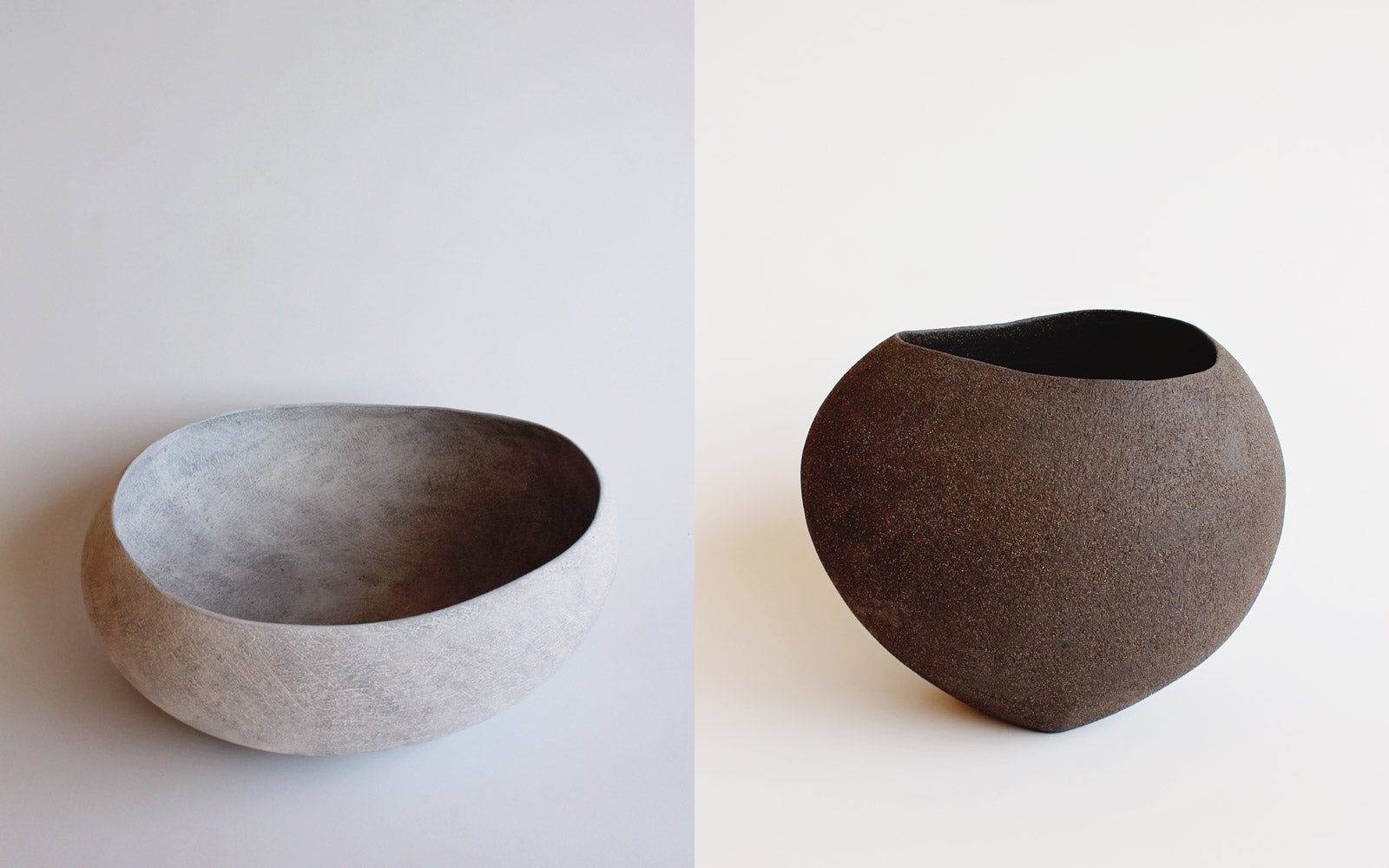 Yasha Butler Ceramic Lithic Vessel White and Dark