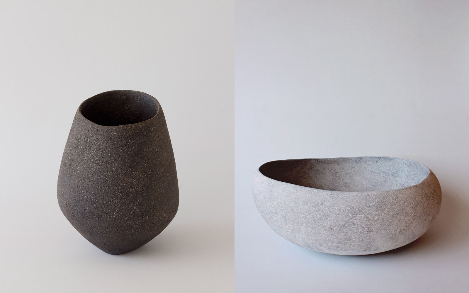 Yasha Butler Ceramic Lithic Vessels White and Dark