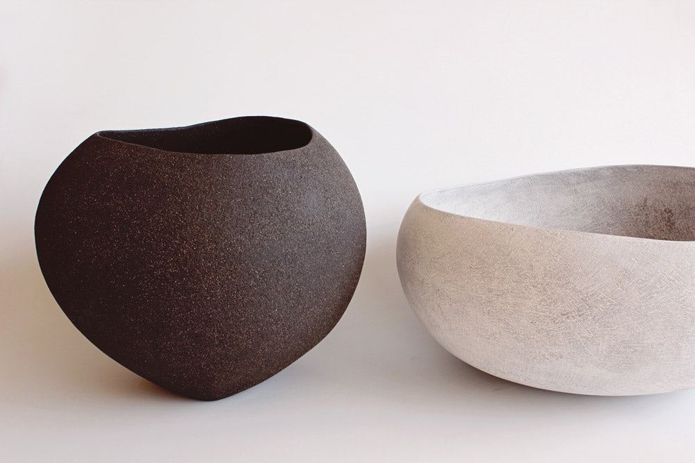 Yasha Butler Ceramic Lithic vessels large Bowls dark brown black white