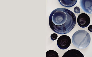 Yasha Butler Ceramics tableware porcelain Functional Landscapes Indigo blue