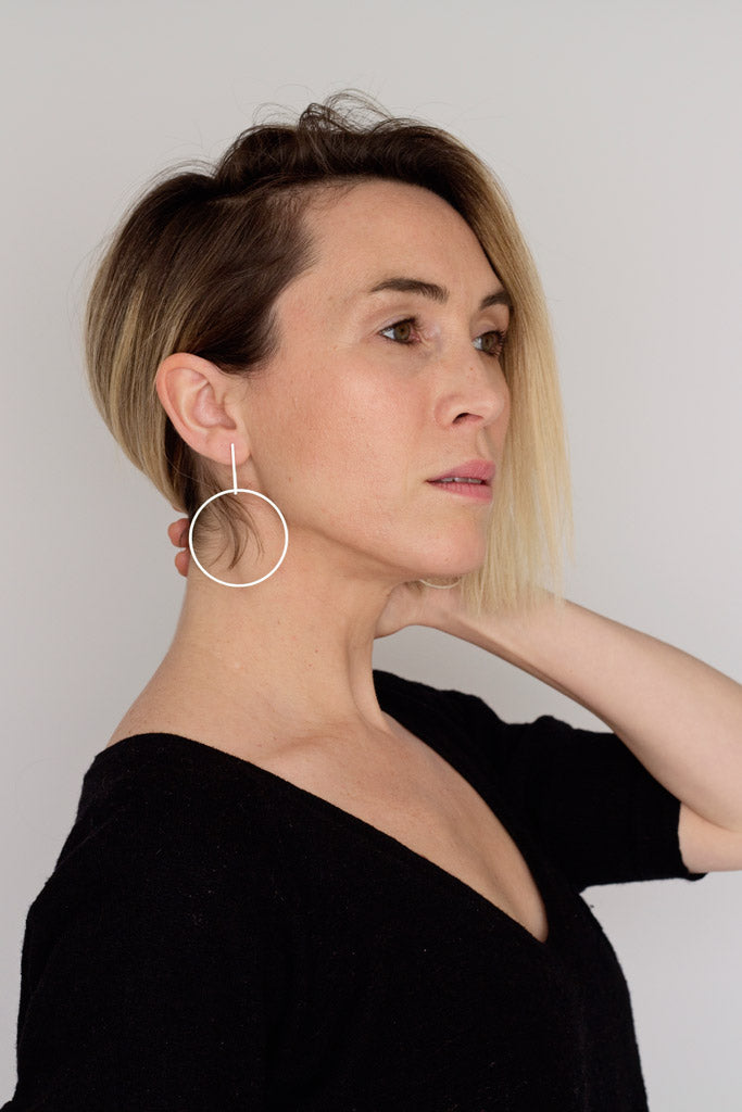Yasha Butler Ella Earrings Bold Sterling Silver Simple Minimal Dangle Hoop