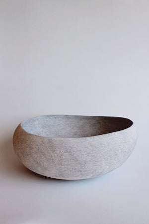Yasha Butler Lithic Sculptural Ceramic Vessel Bowl White