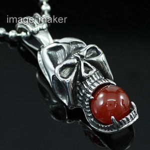 Halloween Death Skull Agate Stainless Steel Mens Pendant Necklace MP004