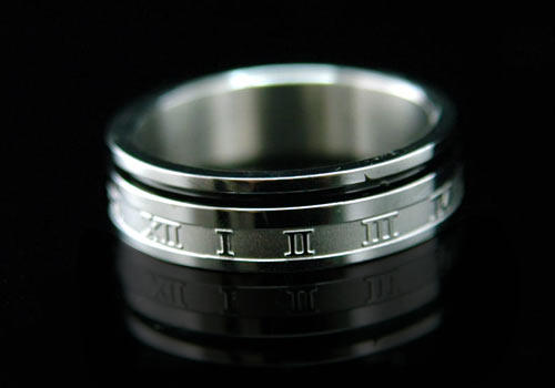 Men Silver Roman Numbers Solid Stainless Steel Ring MR006