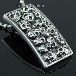 Halloween Death Skull Stainless Steel Mens Pendant Necklace MP009