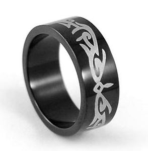 Hip Hop Black Gothic Stainless Steel Ring MR044