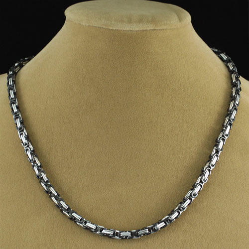 Men's (Black & Silver) Stainless Steel Necklace MN076