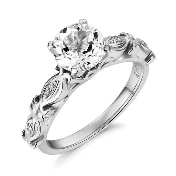 14K White Gold Vintage Wedding Engagement Ring 1.2 Ct Topaz & Natural Diamonds