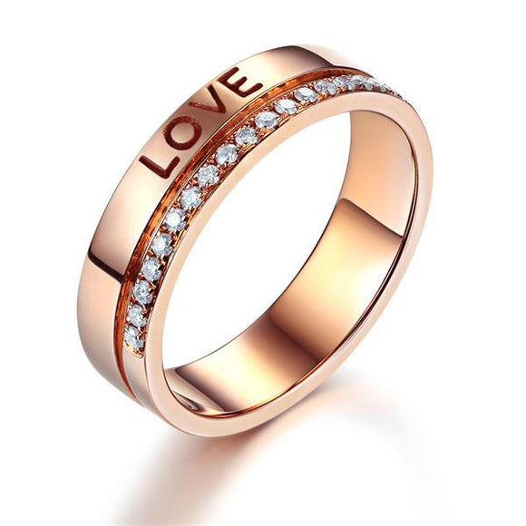 Matching 14K Rose Gold Love Women Wedding Band Ring 0.12 Ct Diamonds