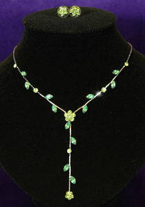 Bridesmaid Green Flower Rhinestone Necklace Earrings Set XS1008