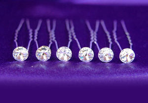 6 X Bridal Wedding Hair Pins use Austrian Crystal XP1010