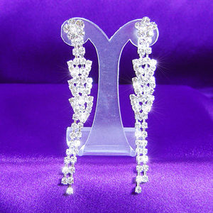 Bridal Queen Dangling Crystal Rhinestone Earrings XE1012