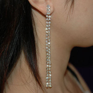 "Long 4"" Prom Bridal Crystal Dangle 2 Row Earrings E1013"