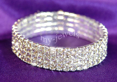 4 Row Bridal Wedding Crystal Rhinestone Bangle Bracelet XB904