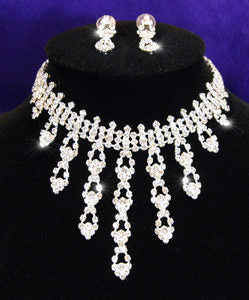 Bridal Wedding Crystal Necklace Earrings Set XS1023