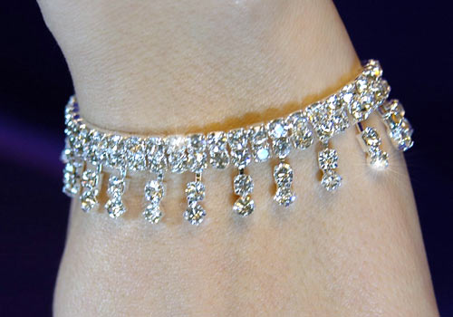Bridal Wedding Crystal Dangling Silver Bracelet XB003