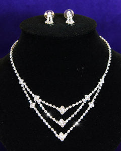 Wedding Bridal Rhinestone Necklace Earrings Set S1027