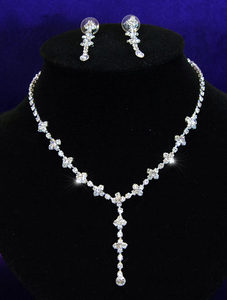 Bridal Wedding Dangling Crystal Necklace Earrings Set XS1029