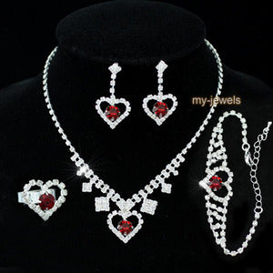 Dark Red Crystal Heart Necklace Bracelet Ring Earrings Set XS1032
