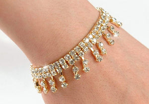 Stretch Bridal Wedding Crystal Gold Dangling Bracelet B005