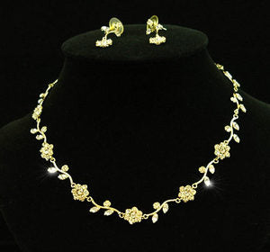 Austrian Crystal Flowers Gold Necklace Earrings Set XS1037