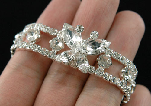 Bridal Fashion Butterfly Clear Rhinestone Bracelet XB012
