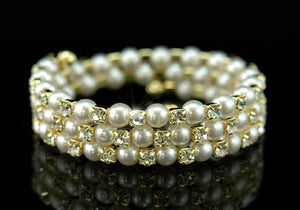 Clear Crystal Faux Pearl Gold Bangle / Armlet XA012